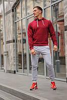 Мужской спортивный костюм бордовая худи и серые штаны (весна-осень), фото 1