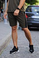 Оливковые (хаки) шорты с черным лампасом