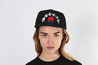 Черная кепка Юность с розой
