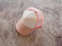 Розовая кепка тракер с белой лобной частью, фото 1