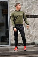 Мужской спортивный костюм Fila (Фила), оливковый свитшот (хаки) и черные штаны весна-осень (реплика)