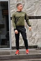 Мужской спортивный костюм Reebok (Рибок), оливковый свитшот (хаки) и черные штаны весна-осень (реплика)