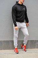 Мужской спортивный костюм Jordan (Джордан), черная худи и серые штаны весна-осень (реплика)