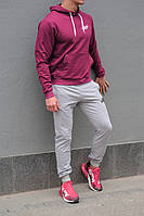 Чоловічий спортивний костюм New Balance (Нью Беленс), бордова худі і сірі штани весна-осінь (репліка), фото 1