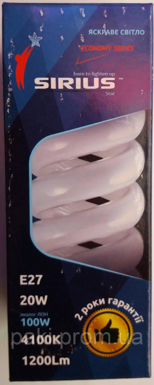Лампочка энергосберегающая SIRIUS E27 20W (100W)