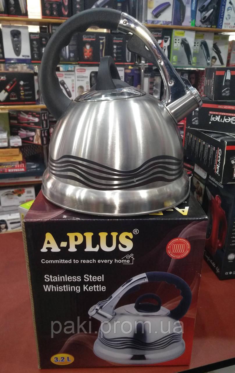 Чайник со свистком A-PLUS WK-1384 3.2 л (индикатор нагрева)