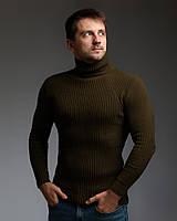 Теплий чоловічий гольф колір хакі, фото 1