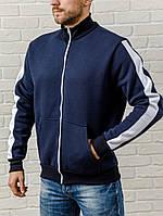 Тепла темно-синя чоловіча кофта на блискавці, фото 1