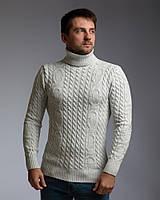 """Теплый светло-серый мужской свитер с узором """"Цепи"""", фото 1"""
