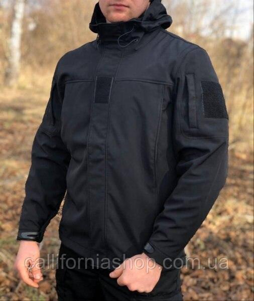 Тактическая черная мужская куртка Soft Shell Legion-12 утепленная на флисе, демисезонная, гидрофобная