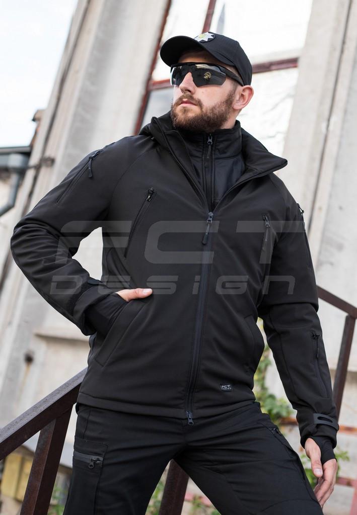 Куртка тактическая Хантер Софтшелл черная на сетке