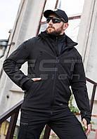 Куртка тактическая Хантер Софтшелл черная на сетке, фото 1