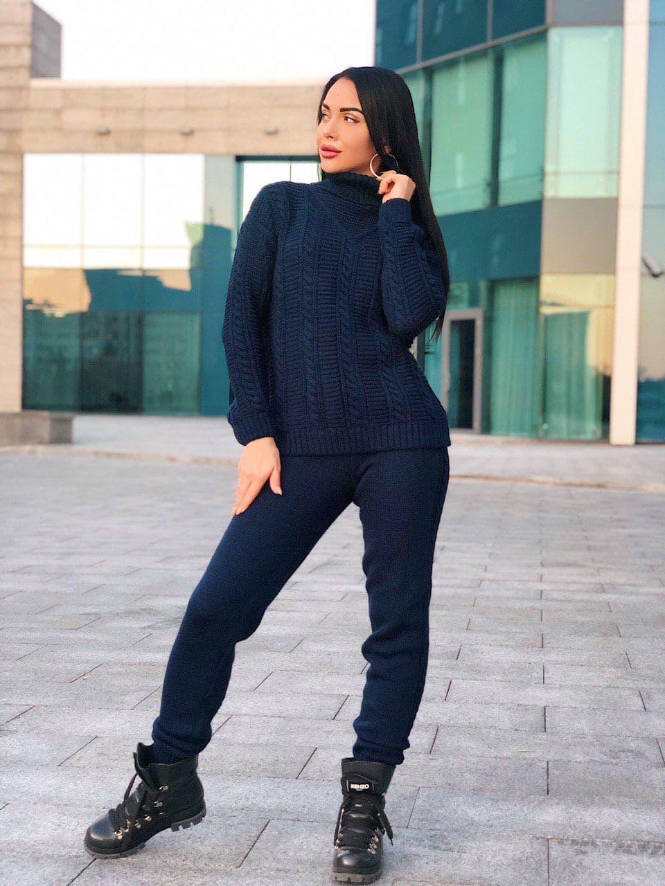 Костюм теплый женский вязаный штаны и кофта с узором