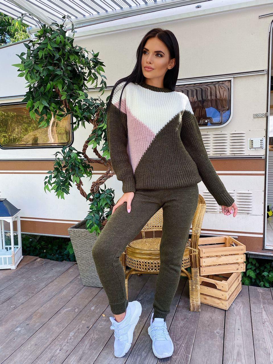 Костюм теплый женский вязаный штаны и стильный свитер