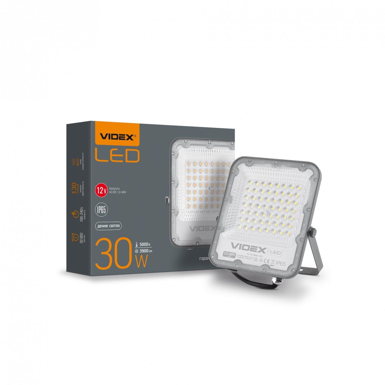 Прожектор LED на 12-48 вольт 30W біле світло 3900Lm VIDEX PREMIUM