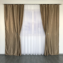 Солнцезащитные шторы из льна блэкаут | Готовые шторы из льна | Якісні штори з льону | Кофейные шторы |