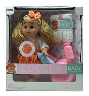 Кукла пупс интерактивная с горшком, бутылочкой, памперс, пьет, писает, звук, подвиж глаза, в короб. 32х29х12см