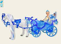 Карета с лошадью для куклы 223A батар. лошадь ходит, куколкой, в кор. 55,8*19*30,2см