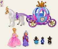 Карета с лошадью для куклы 205A   звук, лошадка ходит,с куклой,в коробке 43*26*20 см