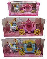 Карета с лошадью для куклы SS004/04B  2 вида,с куклой, лошадкой, в кор.40*18*13см