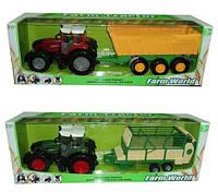 Игрушечная машинка трактор инерционный 8033-3/4  с прицепом,2 вида в коробке 80см