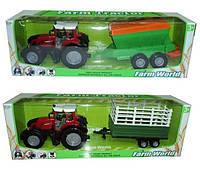 Игрушечная машинка трактор инерционный 8033-5/7  с прицепом,2 вида в коробке 80см