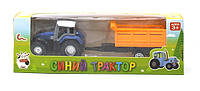 Синий трактор игрушка в коробке 21х7х5см
