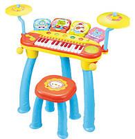 Музыкальный синтезатор детский пианино 1601 батар ,со стульчиком,+ ударные,в кор. 65*50см