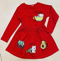 Стильное детское платье для девочки на байке Котики 2-8 лет, цвет уточняйте при заказе, фото 1