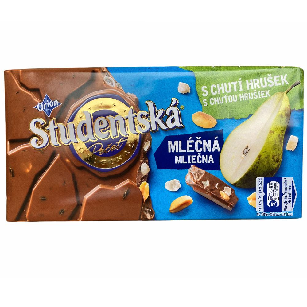 Молочный шоколад с грушей Studentska
