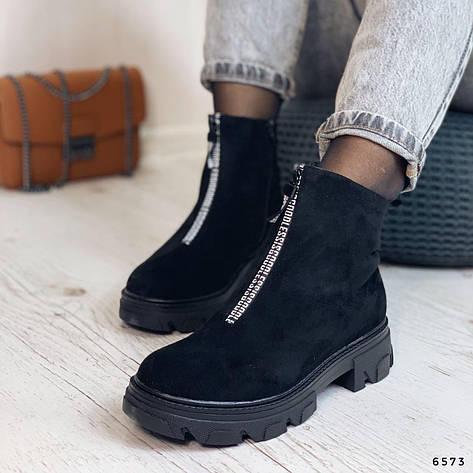 Ботинки женские черные, зимние из эко замши. Черевики жіночі теплі чорні з еко замші, фото 2