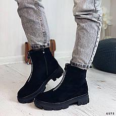 Ботинки женские черные, зимние из эко замши. Черевики жіночі теплі чорні з еко замші, фото 3