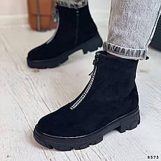 Черевики жіночі чорні, зимові з еко замші. Черевики жіночі теплі чорні з еко замші, фото 3