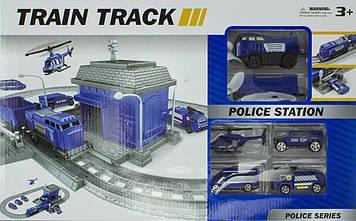 Залізниця на бат-ці,локомотив,вагон,транспорт,станція,у кор-ці,50х31х7,5см №866-2-5(12)