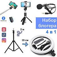 Набор блогера 4в1 Кольцевая LED лампа 33 см Штатив Петличный микрофон Селфи-палка Bluetooth пульт фото видео