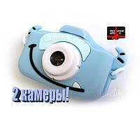 20Мп Детский фотоаппарат с картой 32 Гб Children`s fun с фронтальной камерой Голубой Пират