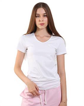 Базова жіноча футболка з V-вирізом (розміри XS-3XL біла, чорна, бежева)