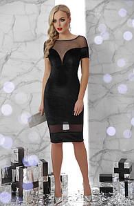 Коктейльное велюровое платье футляр черное 48