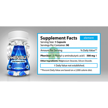 Фенибут Revange Nutrition Phenibut 500 mg 90 caps, фото 2