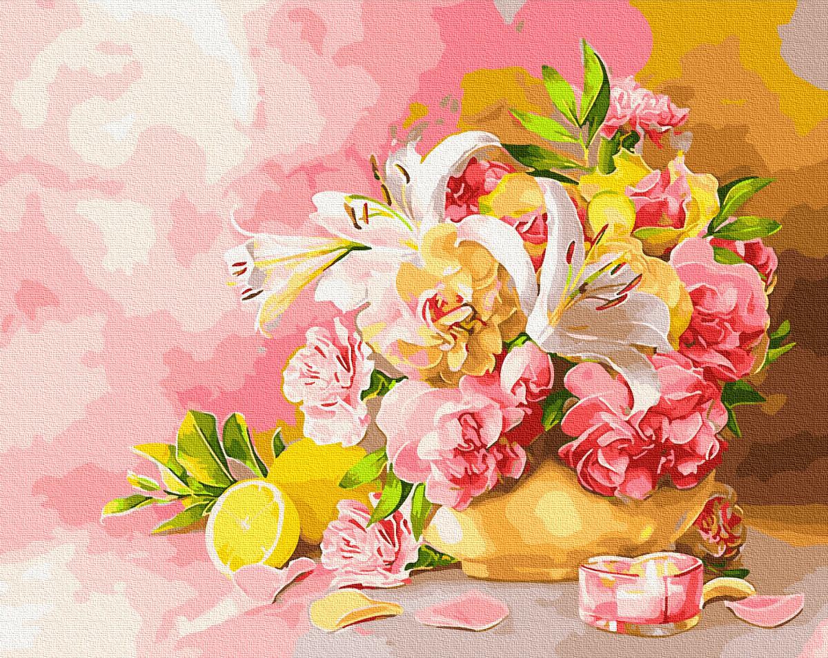 Картина рисование по номерам Букет с лилиями BRM28783 40х50 см Цветы, букеты, натюрморты набор для росписи