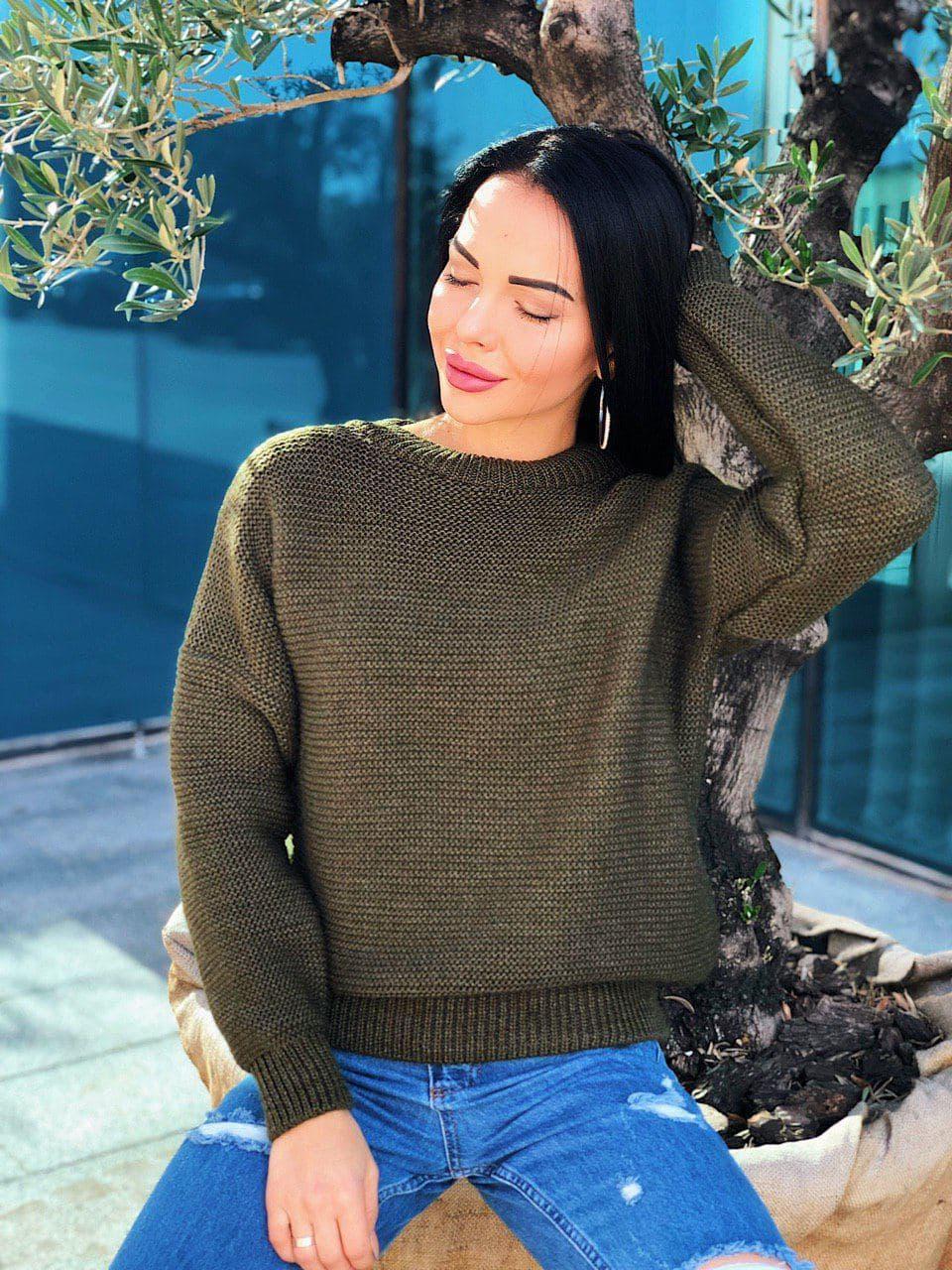 Стильный теплый женский свитер шерсть