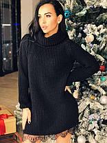Платье туника под горло теплое вязаное украшено кружевом, фото 3