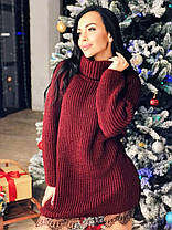 Платье туника под горло теплое вязаное украшено кружевом, фото 2