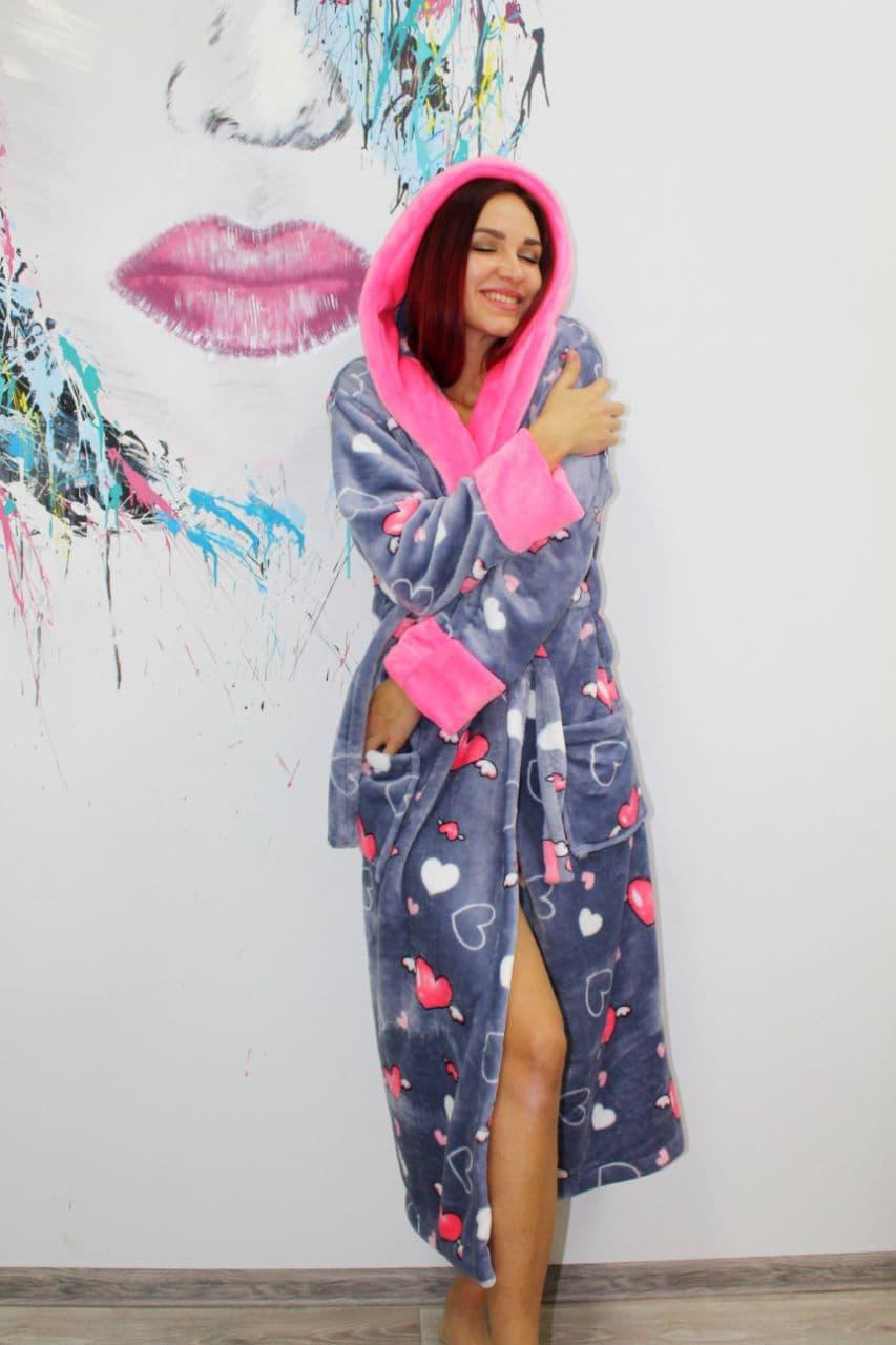 Женский длинный махровый халат с сердечками Турция