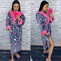Женский длинный махровый халат с сердечками Турция, фото 3