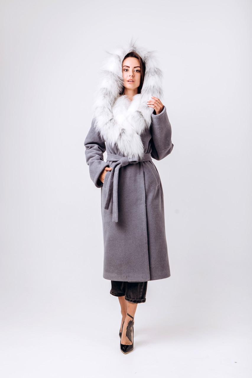 Длинное зимнее пальто с капюшоном и мехом O.Z.Z.E Д 337