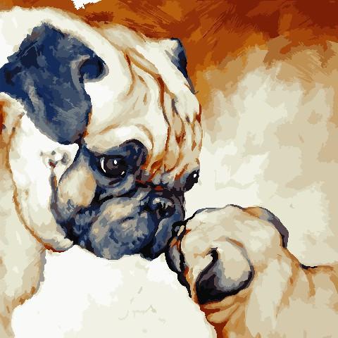 Картина рисование по номерам ArtStory Милые мопсы AS0796 40х40 см Коты и собаки набор для росписи краски,