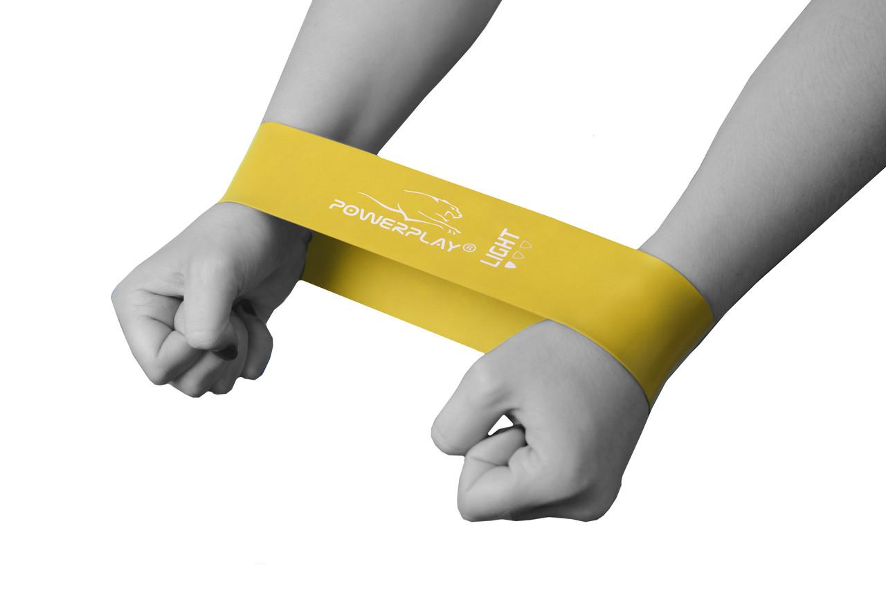 Фітнес резинка PowerPlay 4114 Light Жовта (500*50*0,6мм.)- супротив 4,5кг