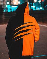 Мужской свитшот худи унисекс Пушка Огонь Scratch черно-оранжевый из качественой турецкой трехнитки с начесом