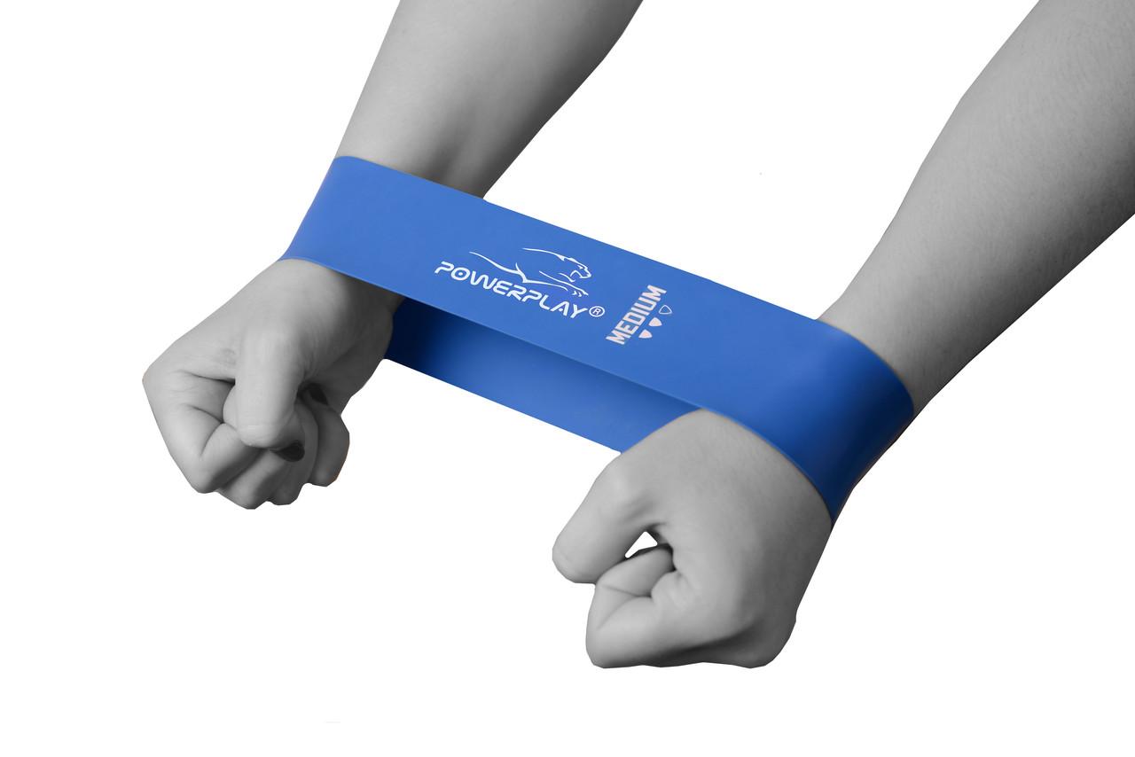 Фітнес резинка PowerPlay 4114 Medium Синя (500*50*1мм) -супротив 7,5кг